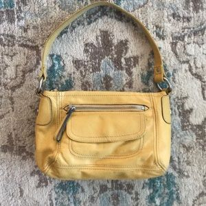 FOSSIL yellow leather small shoulder purse handbag